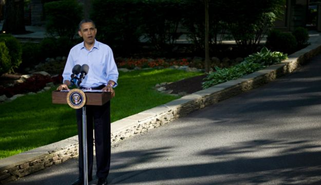 U.S. President Obama addresses the press following the G8 summit, May 19, 2012.
