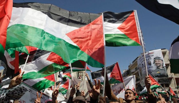 Palestinians hold flags during a rally in the West Bank city of Ramallah March 15, 2011.
