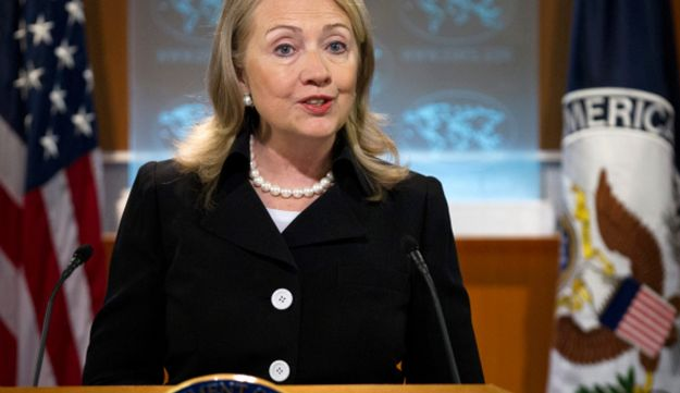 Secretary of State Hillary Rodham Clinton speaks during a news conference at the State Department