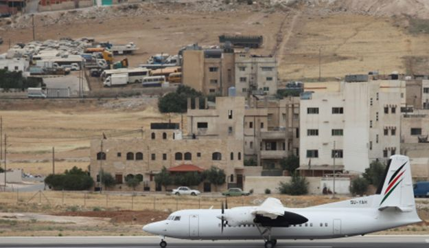 A Palestinian Airlines flight takes off from Marka Airbase to El-Arish, Egypt, in Amman.