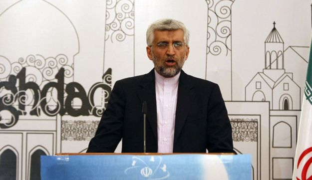 Iran's chief negotiator Saeed Jalili addresses a news conference after a meeting in Baghdad, May 24,