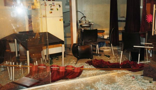 A hairdresser's that was damaged in the anti-migrant demonstration in south Tel Aviv last week.