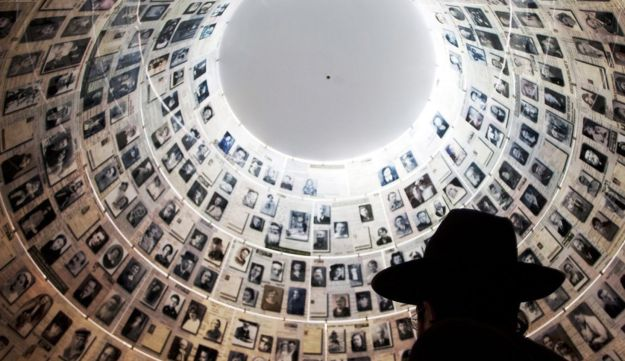 An ultra-Orthodox Jewish man visits the Hall of Names at the Yad Vashem Holocaust Memorial