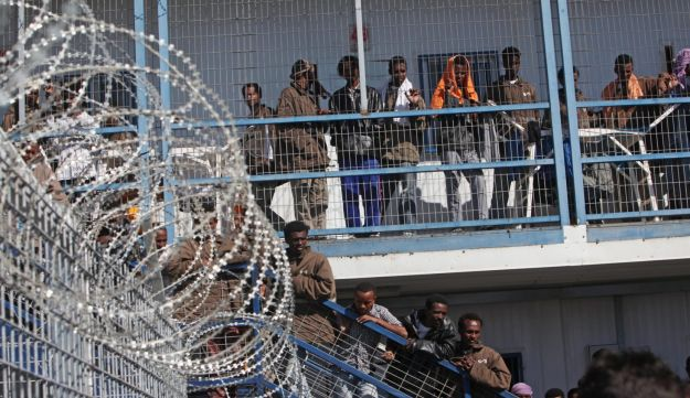 African migrants being held in Israel's Saharonim detention facility 4.6.12