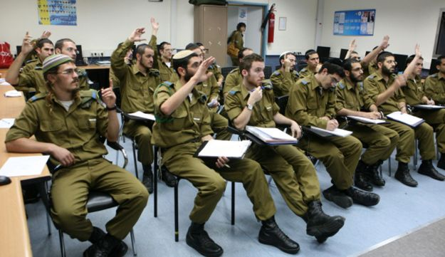 Ultra-Orthodox soldiers in a class within the framework of Shahar, Nov. 11, 2010.