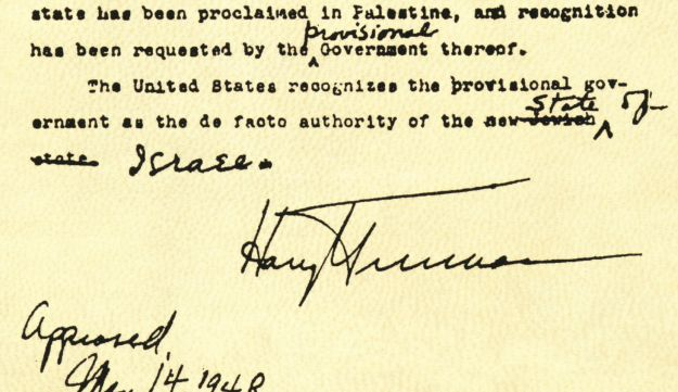 A letter signed by President Truman, in which he recognized Israel's first government.