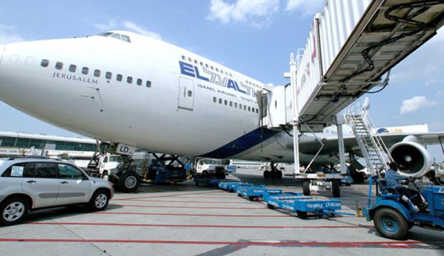 An El Al Israel Airlines airplane sits on the tarmac at John F. Kennedy Airport in New York