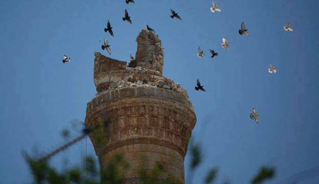 A destroyed minaret of a mosque on the outskirts of the town of Idlib.