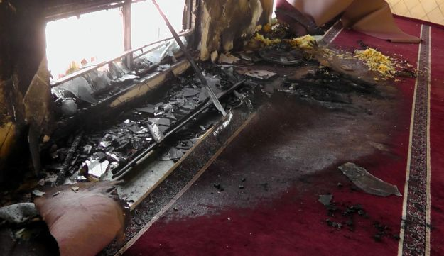 The interior of the mosque in Jab'a after the attack, June 19, 2012.