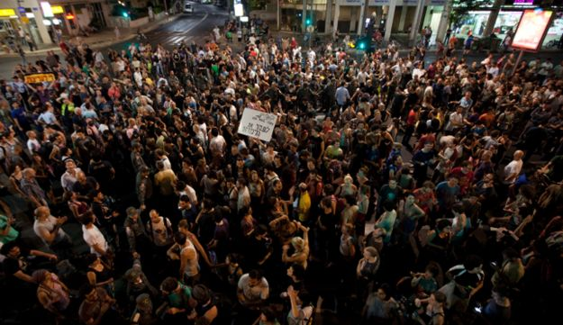 Protesters blocking off Tel Aviv streets.