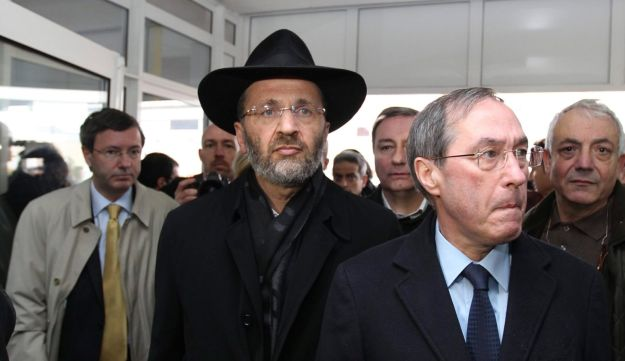 France's chief rabbi, Gilles Bernheim, center, and French interior minister, Claude Gueant, right.