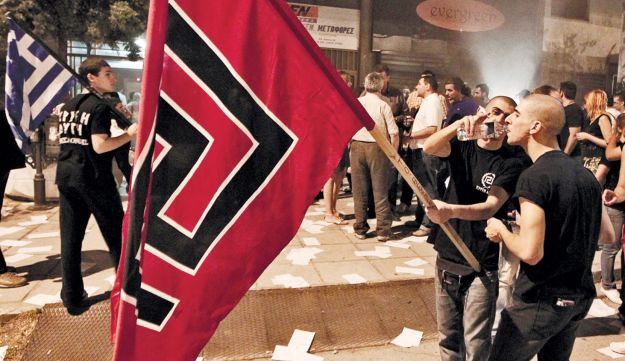 Supporters of Greece's neo-Nazi Golden Dawn party celebrate election results.