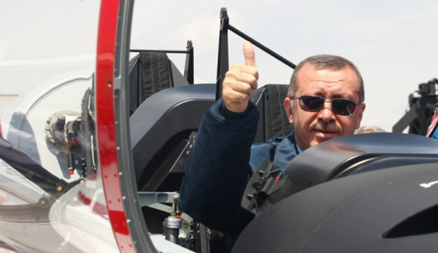 Turkish Prime Minister Recep Tayyip Erdogan in the cockpit of a Turkish aircraft.
