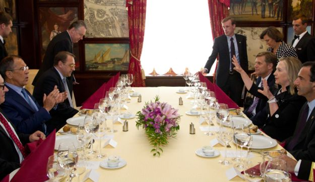Secretary of State Hillary Rodham Clinton, center right, and Russian Foreign Minister Sergey Lavrov,