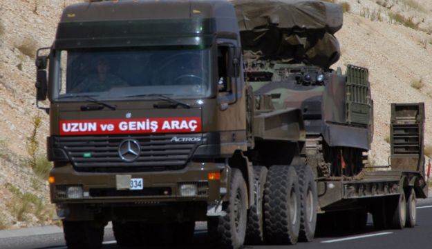 A Turkish military truck transports a mobile missile launcher to the Syrian border, June 28, 2012.