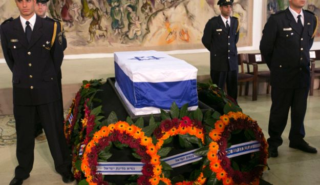Shamir's coffin on display in the Knesset on Monday.