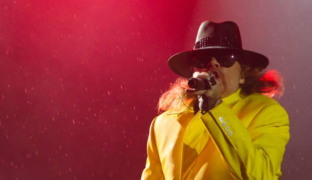 In this Monday, Oct. 3, 2011 file photo, Axl Rose of Guns N' Roses performs in Brazil.