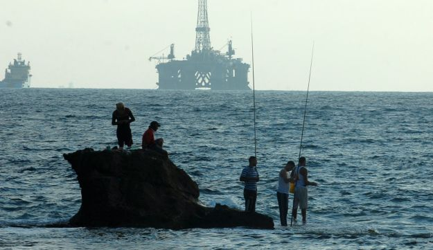 A gas platform seen from Israel's coast.