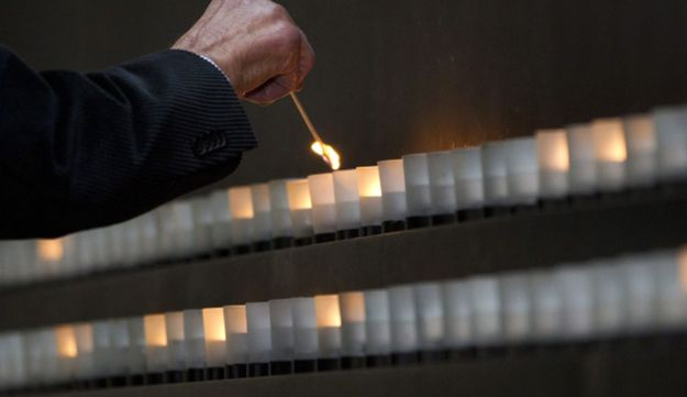 A candle is lit in the Hall of Remembrance at the Holocaust Memorial Museum in Washington.
