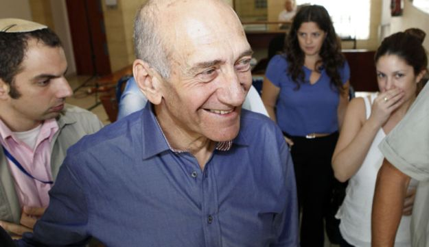 Former Israeli prime minister Ehud at the District Court in Jerusalem, July 10, 2012.