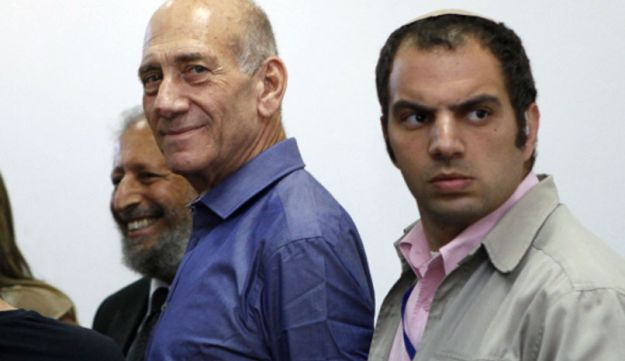 Former Israeli prime minister Ehud Olmert at the District Court in Jerusalem, July 10, 2012.