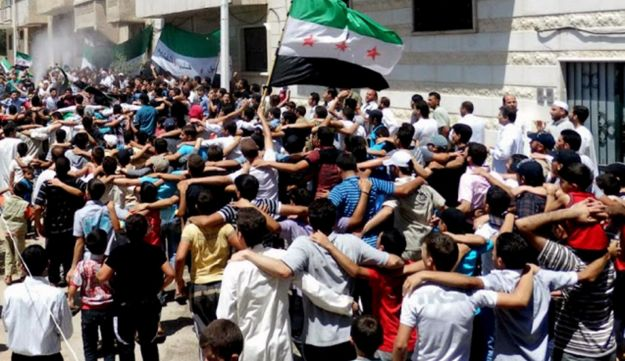 Syrians demonstrating in Hama on July 2, 2012.