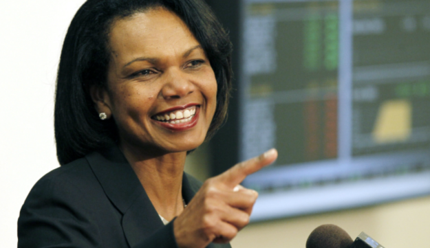 Former Secretary of State Condoleezza Rice answers questions from reporters