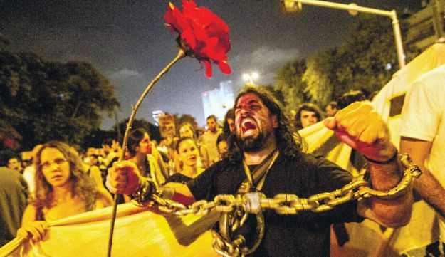 Protesters at a recent demonstration in Tel Aviv