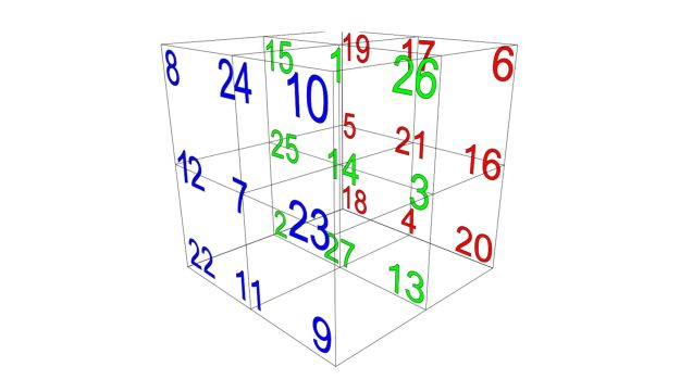The 3 × 3 × 3 magic cube with rows summing to 42.