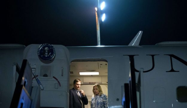 U.S. Secretary of State Hillary Clinton arrives at Ben Gurion International Airport, Israel, 2012.