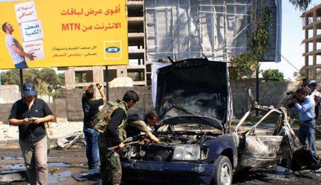 Car bomb in Damascus, July 13, 2012.