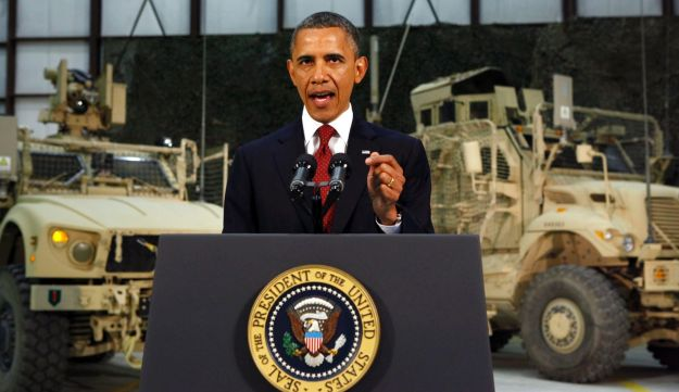U.S. President Barack Obama delivers a speech from Bagram Air Base, Afghanistan, May 2, 2012.