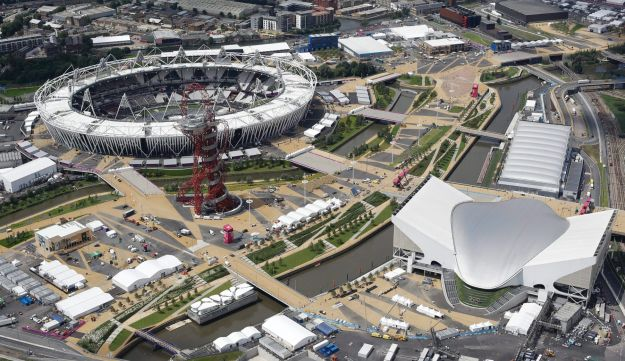An aerial view of the London 2012 Olympic Park.