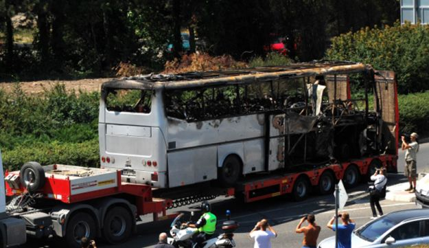 Bus damaged by suicide bomb targeting Israeli tourists at the airport in Bourgas, Bulgaria.