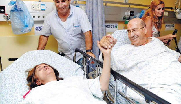 Raymonde, left, and Gadi Siboni, who were injured in the Burgas bombing, recovering yesterday