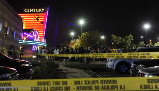The scene at the movie theater in Aurora, a suburb of Denver, Colorado.