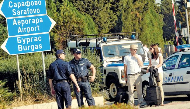 Police barring access to the Burgas airport after last week's terrorist attack there.