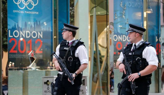 British police officers outside the London 2012 Olympic