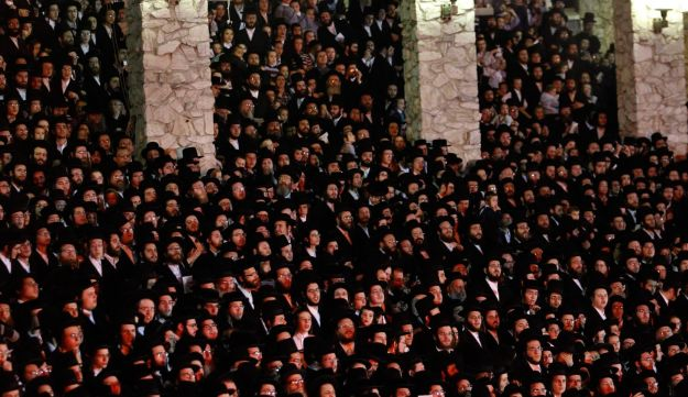Orthodox Jews celebrate the Jewish holiday of Lag BaOmer in the village of Kiryas Joel, New York.