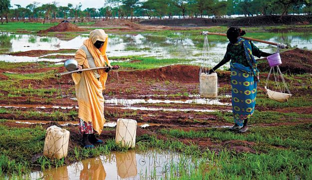 Women collecting water in a refugee camp in South Sudan