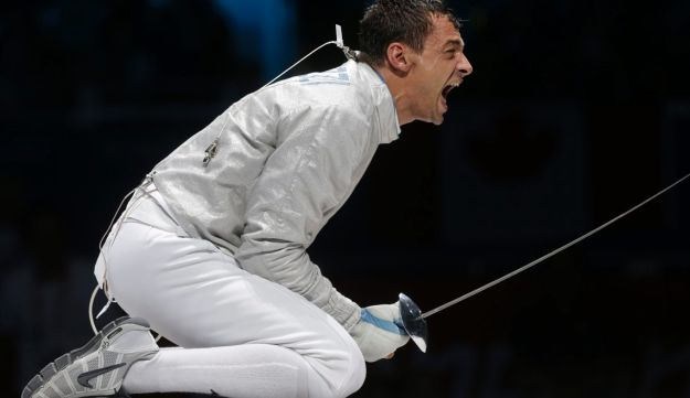 A member of the Italian team, fencer Diego Occhiuzzi.