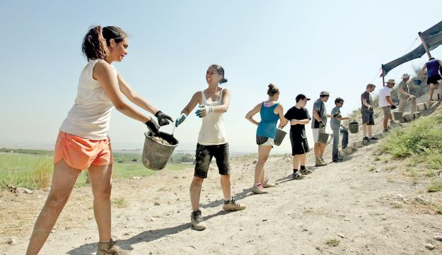 Volunteers at the site of the archaeological dig at the biblical site of Megiddo