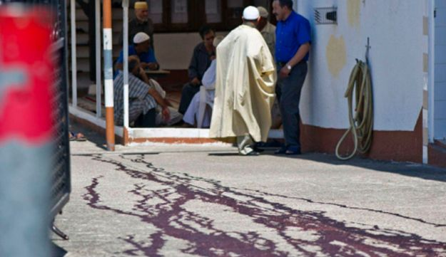 The blood-stained pavement outside the es-Salam mosque on August 1, 2012.