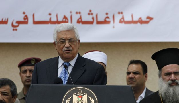 Palestinian President Mahmoud Abbas speaking at a press conference.