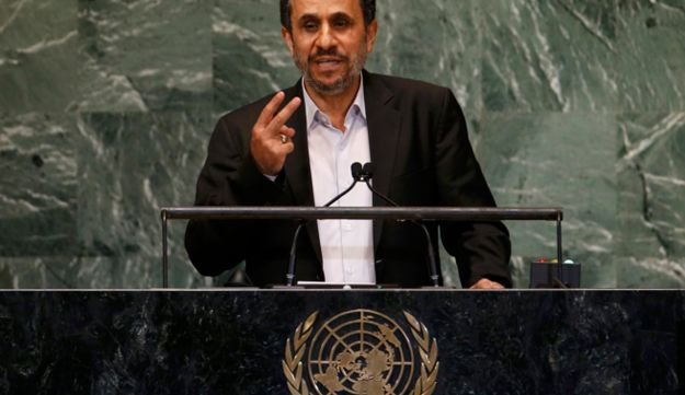 Ahmadinejad speaks during the 67th United Nations General Assembly at UN