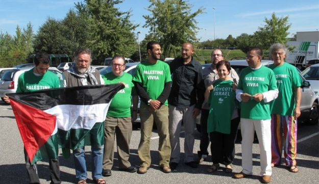 Farida Trichine (third from right) and fellow BDS activists in Mulhouse, France, September 11, 2010.