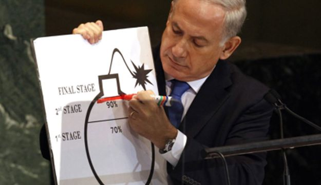 Prime Minister Benjamin Netanyahu illustrating the 'red line' for Iran's nuclear capacity, at the United Nations General Assembly, Sept. 27, 2012.