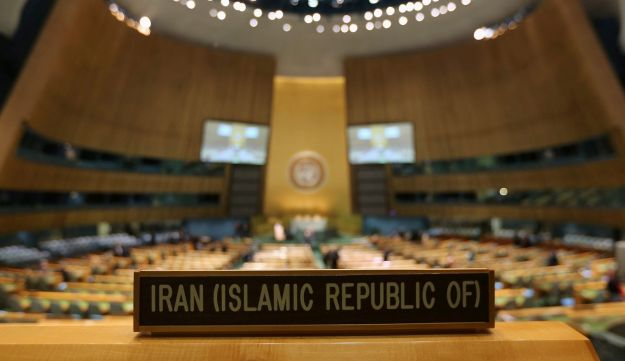 A sign marks the spot for Iranian President Mahmoud Ahmadinejad at UN HQ - AFP - September 25, 2012.