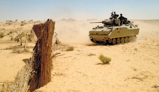 An Egyptian tank maneuvers near the border with Israel.