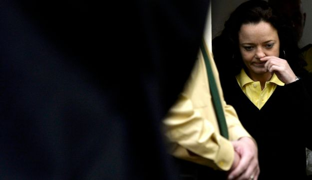 Defendant Beate Zschaepe arrives for the third session of her trial in a courtroom in Munich, May 15
